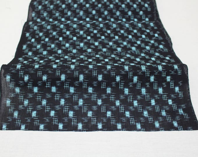 Japanese Vintage Kasuri Ikat. Woven Indigo Cotton Bolt. Traditional Folk Fabric. Bingo (Ref: 1408)