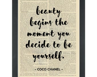 Inspirational Happy Quote CoCo Chanel Beauty Begins Dictionary Art Print