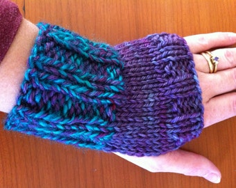 SALE: Purple, Blue & Green Fingerless Gloves