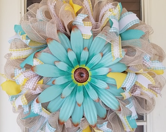 Spring Flower Wreath, Spring, Turquoise, Wreath