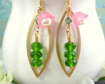 Pea in a pod green pink tulip gold marquis earrings, botanical pink flower pea dangle earrings
