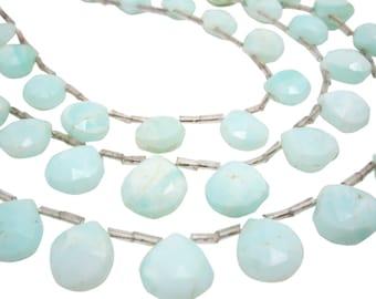 Peruvian Blue Opal Beads, Peruvian Opal, Blue Opal, Wholesale Peruvian Opal, Faceted Briolette, SKU 4180A