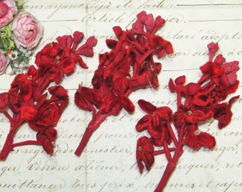 1p 1920s TRUE RED VELVET Millinary Spray Vintage Hat flower Panne crushed French bebe Doll Dress Trim Ribbon Boho Choker 1920s Flapper