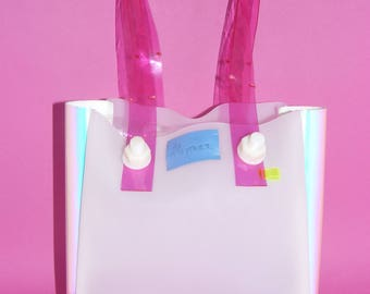 Pink Holographic Plastic Tote