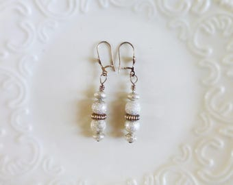 Beaded Sparkle earrings, shiney beads, glitter bead earrings, women's gift, jewelry gift, ready to ship, handmade, silver color