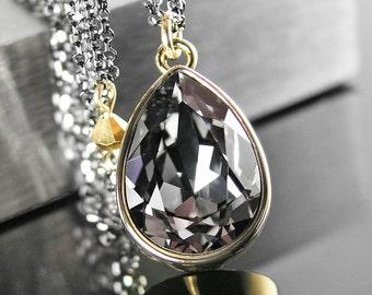 Dark Silver Grey Crystal Necklace Sterling Silver Chain Necklace Swarovski Crystal Pendant Necklace Gold Black Crystal Teardrop Jewelry