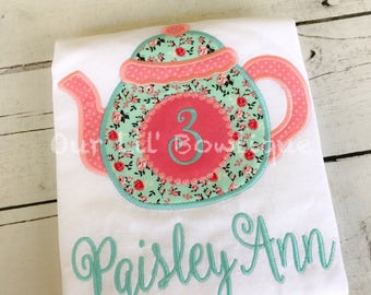 Tea Party Birthday Shirt - Tea Pot Birthday Shirt - Birthday Shirt - Tea Party Birthday- First Birthday- Tutu-Birthday Outfit - Mint- Coral