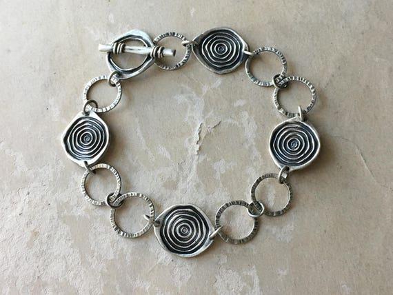 Lightweight Bracelet, Spiral Jewelry, Silversmith Jewelry, Hammered Silver Bracelet