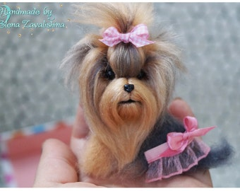 Yorkie/Felt brooch/Felt pin/Needle felted animal/Miniature/Personalized Pet/ Miniature animal/ Yorkie jewelry/Felted jewelry/Sweet gift