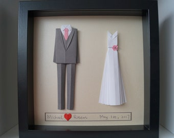 First anniversary gift- Bride and groom origami outfit-paper tailcoat and dress - made to order