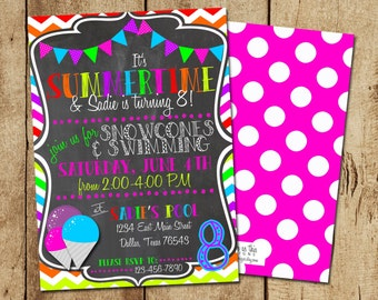 SUMMER BIRTHDAY INVITATION - Pool Party Invite - Summertime Party