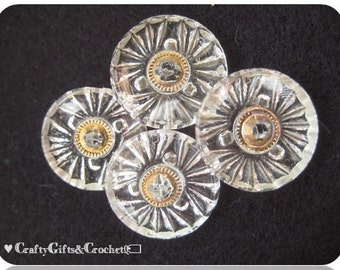 Vintage Glass Rhinestone Buttons (4)