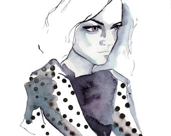 Portrait Study 01 Art Print, Fashion Illustration, Fashion Sketch, Watercolour Illustration