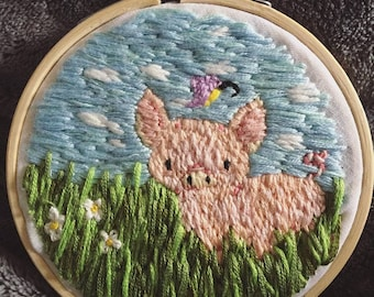 Hand Embroidered Piglet Hoop Art
