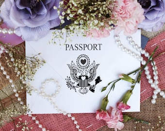 """Pretend passport, Passport Stamp, DIY Passport, Rubber stamps for travel and destination events and projects, 2.5"""" Clear Block --5538"""