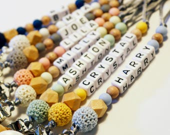 Personalised Dummy Clip - Up to 8 Letters - Pacifier Clip - Custom Dummy Chain - Wooden, Silicone & Crochet Beads - Teething Beads