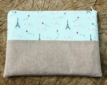 Medium zipper pouch - Eiffel Tower, Cosmetic bag, Travel bag, Toiletries bag, Zippered pouch