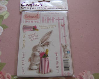Bebunni, Thank you, Crafter's Companion, Unmounted Rubber Craft Stamp Set,