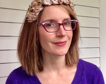 Floral Headband Hat Beige Vintage 50s Fascinator Velvet