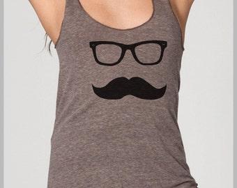Mustache Wayfarer Racerback Tank Top American Apparel Women's Tank top