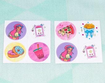 Set of 4 38mm Round Stickers