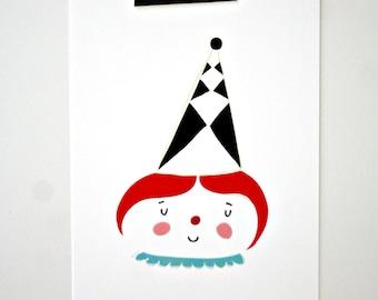 Postcard- Fille arlequin-