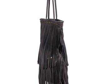 Shoulder Bag, Shoulder Leather Bag, Personalized Leather Bag, Black Leather Bag, Fringe Bag, Western Bag, Fringe Leather Bag,