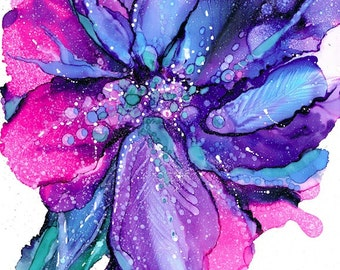 Abstract Iris. Ink painting, Contemporary, Bright