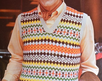 Mens fair isle pullover vintage knitting pattern sweater slip over pdf INSTANT download pattern 1970s