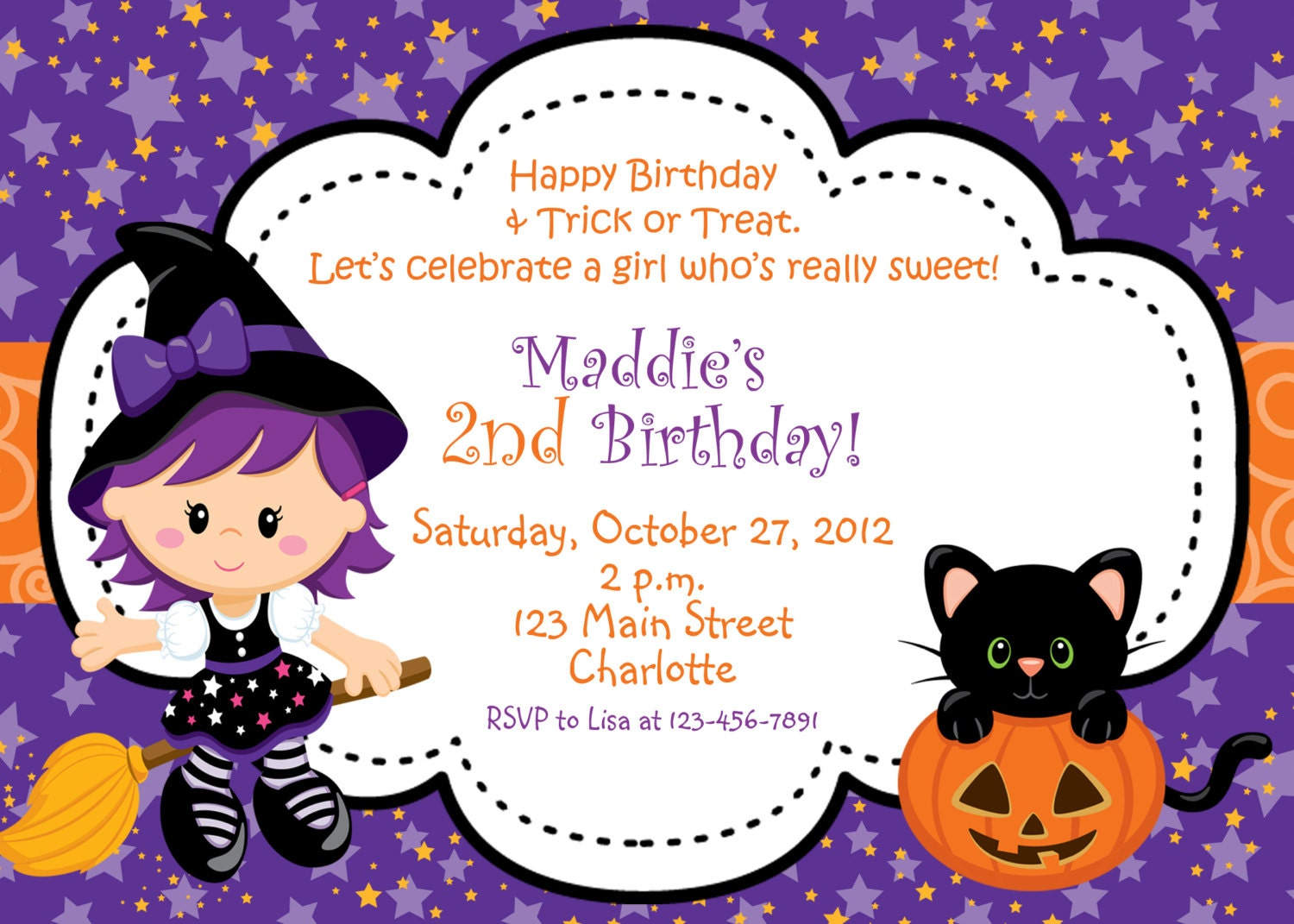 Halloween party invitation witch halloween birthday party