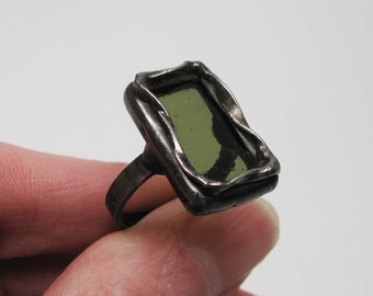 Olive Branch - Sterling Silver Stained Glass Ring - Size 7