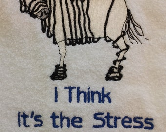 CALMing soap and funny stressed out towel - Stressed Out Zebra Towel - Chamomile Soap - Lavender Soap