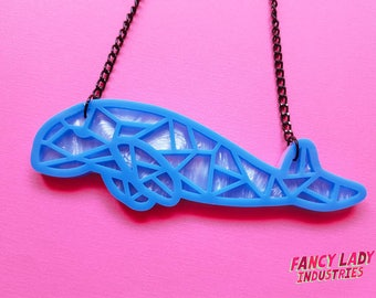 Geo Dugong Necklace, Blue Dugong, Art Deco Dugong, Laser Cut Necklace