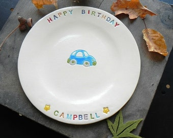 Personalized Ceramic Birthday Plate, Custom Colorful Dessert Plate for Kids, Little Car Hand Built Ceramic Serving Plate, Birthday Gift