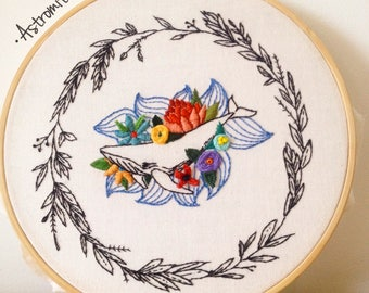 Humpback whales with flowers embroidery frame