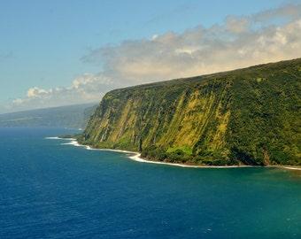 Lush Waipio Waterfall Coastline Aerial View With the Blue Ocean Waters of the Big Island, Hawaii Aerial Photography Art Print 8 x 10 Print