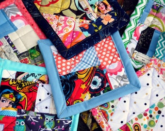 Crazy Quilt Potholders, Funky Potholders, Fun Potholders