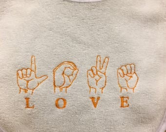 Sign language love bib