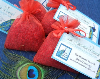 Spiced Cranberry Scented Aroma Bead Sachet Air Freshener Red