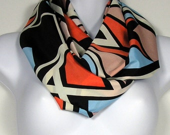 SALE Fashion Scarf Infinity Scarves Womens Infinity Scarves Black White Blue Orange Poly Silk Circle Scarf Womans Fashion Scarf  Poly Cowls