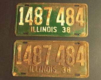 Vintage 1938 Illinois License Plate Set, Land of Lincoln,  Illinois Tags, Garage, Car, Truck, Rustic Decor, Number 1487 484