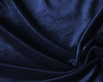 SALE 20% Navy Blue Velvet Fabric, Dress Stretch velvet, Commercial Curtain Fabric, Fashion Velvet, Upholstery Decorative Fabric DVB07