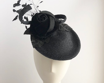 Black Straw Platter Fascinator with Silk Rose and Coque Feathers for the Derby