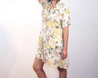 90s Phool Dress M, Yellow Floral Pastel Rayon Crepe Mini Vintage India Casual Summer Minidress With Pockets, Medium