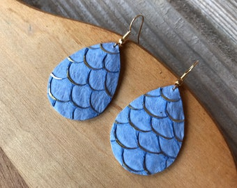 Baby Blue and Gold Scales Teardrop Dangle Earrings