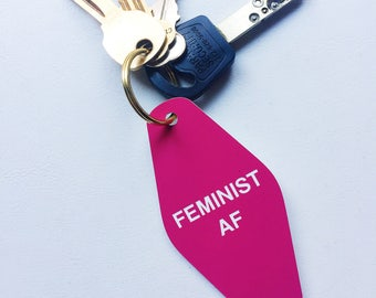 Feminist AF keychain-Pink engraved vintage hotel key chain, purse charm, planner accessory-