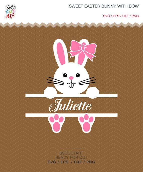 Sweet Easter Bunny Split Bow Frame Rabbit Dxf Svg Cut File