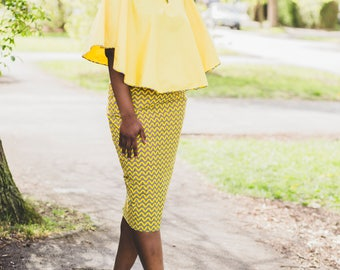 Alero African fitted skirt and cape top