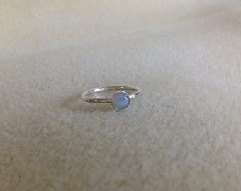 Blue Lace Agate and Sterling silver dainty ring
