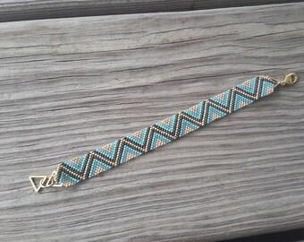 Geometric Seafoam Mini Cuff Bracelet